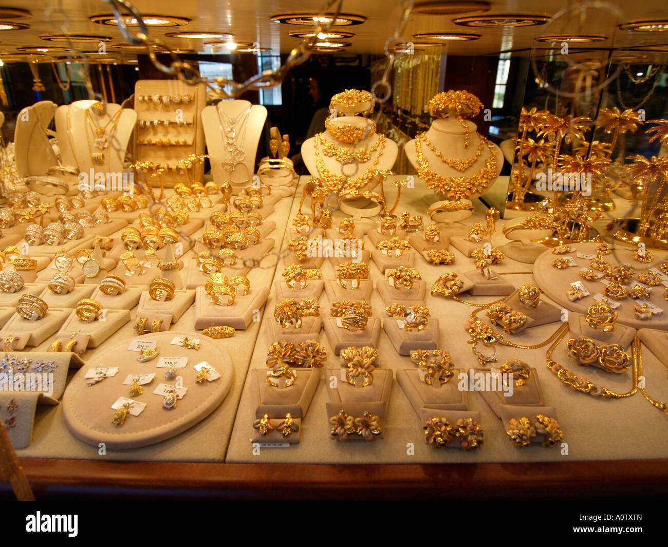 ponte vecchio jewellers shop window with many gold rings