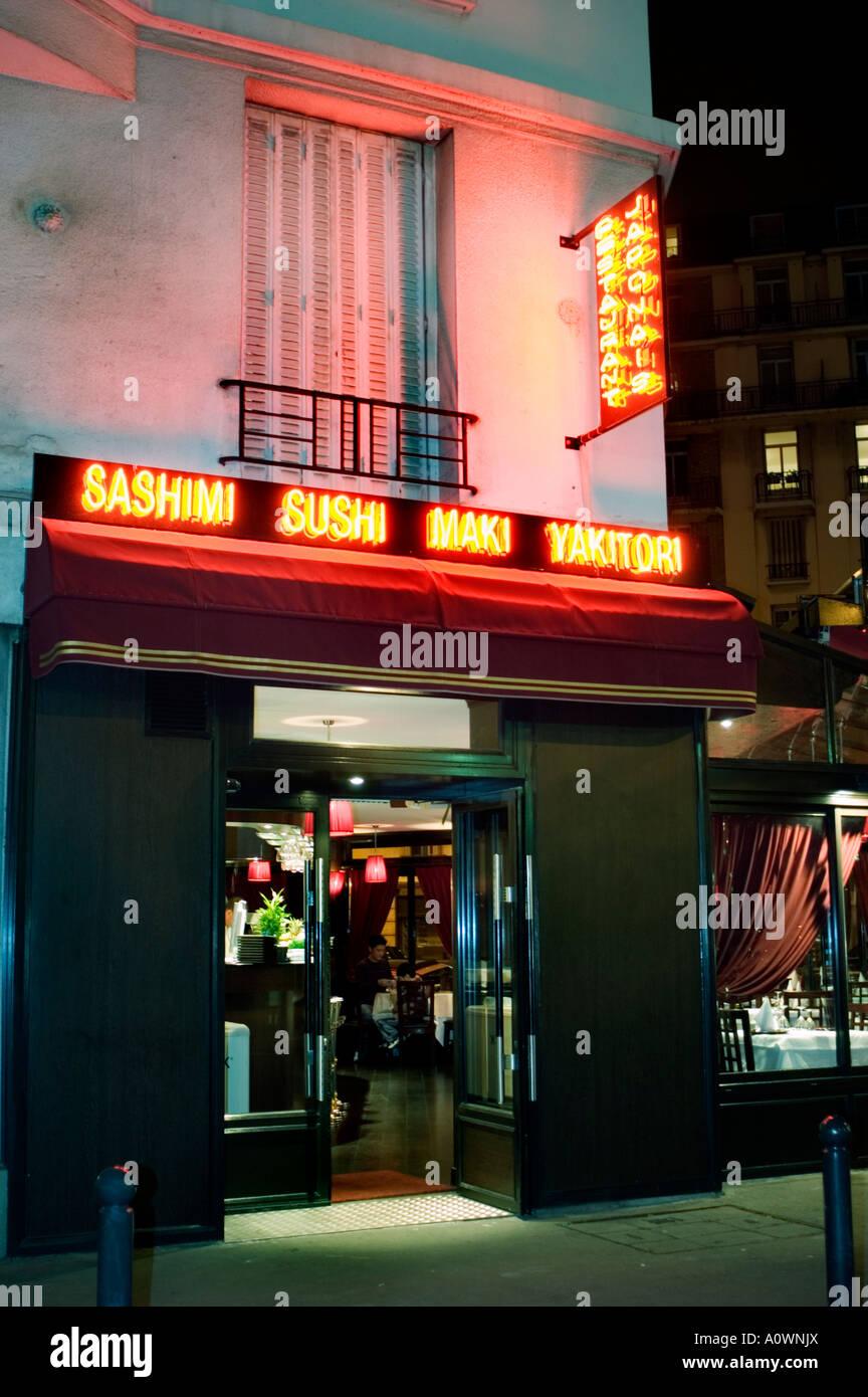 PARIS France Japanese Restaurant Exterior Neon Sign Open Door at Night Entrance \