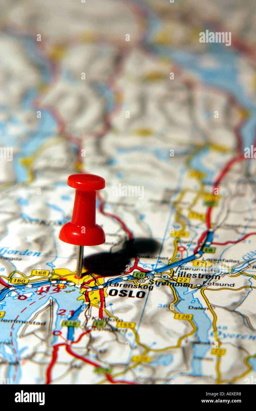 Map pin pointing to oslo norway on a road map stock photo 5762295 map pin pointing to oslo norway on a road map publicscrutiny Image collections
