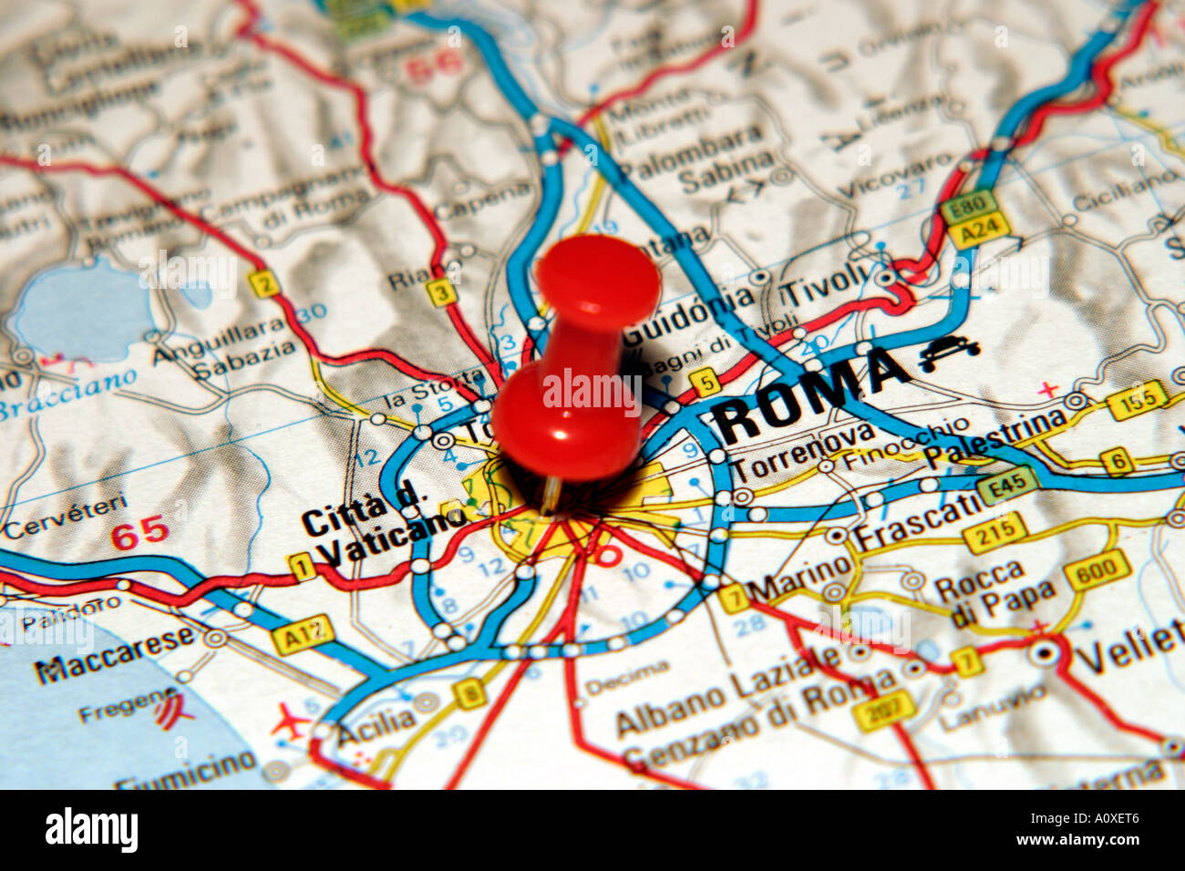 Map Pin Pointing To Rome Italy On A Road Map Stock Photo