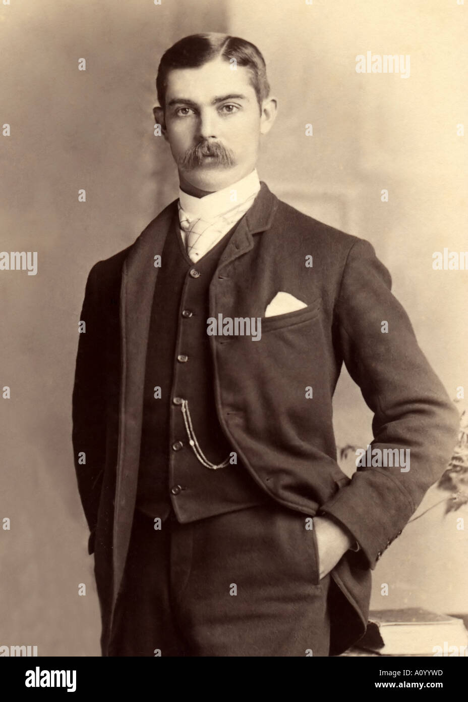 portrait of a young victorian man in suit and tie stock