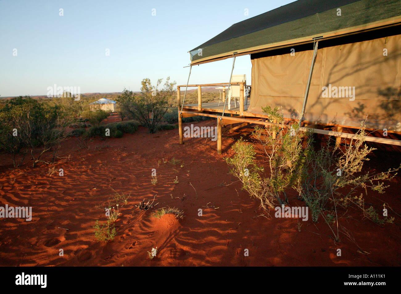 A luxury safari tent in the outback resort of Gunya Titjikala Simpson Desert Northern Territory Australia & A luxury safari tent in the outback resort of Gunya Titjikala ...