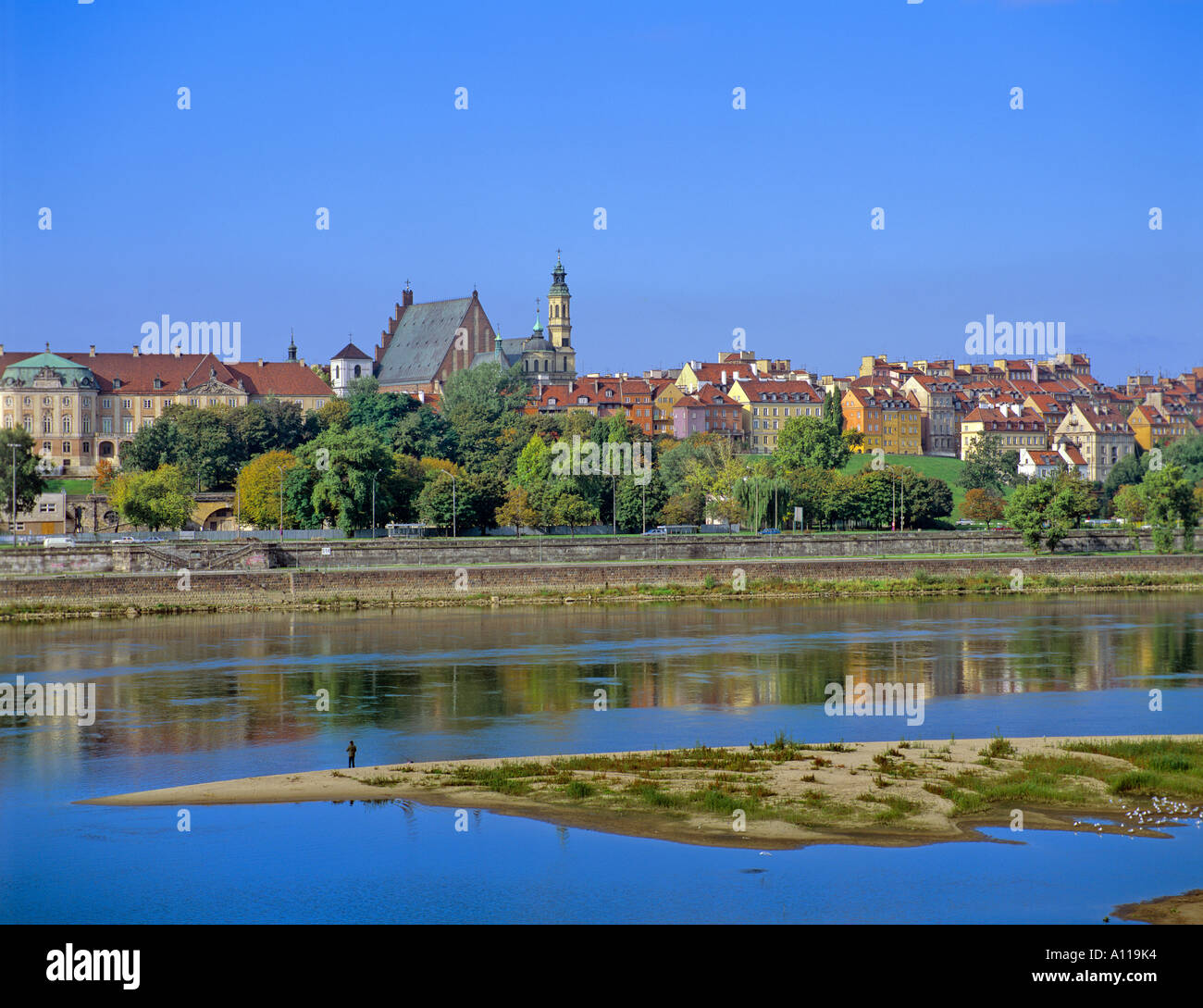 The View Of Old Town Across The Vistula River Warsaw Poland Stock - Where is warsaw