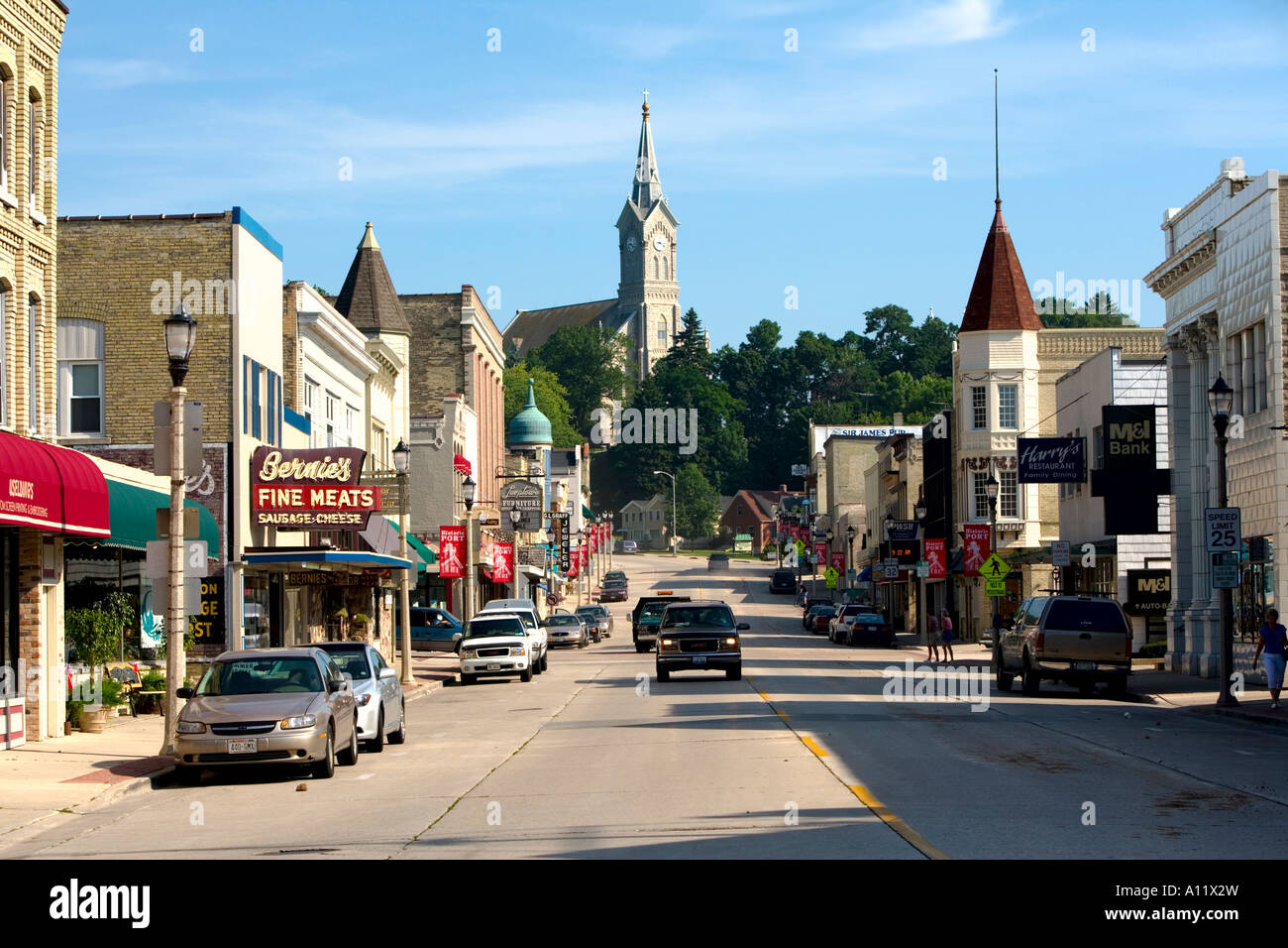 View of downtown port washington wisconsin with st mary 39 s for Port washington wi