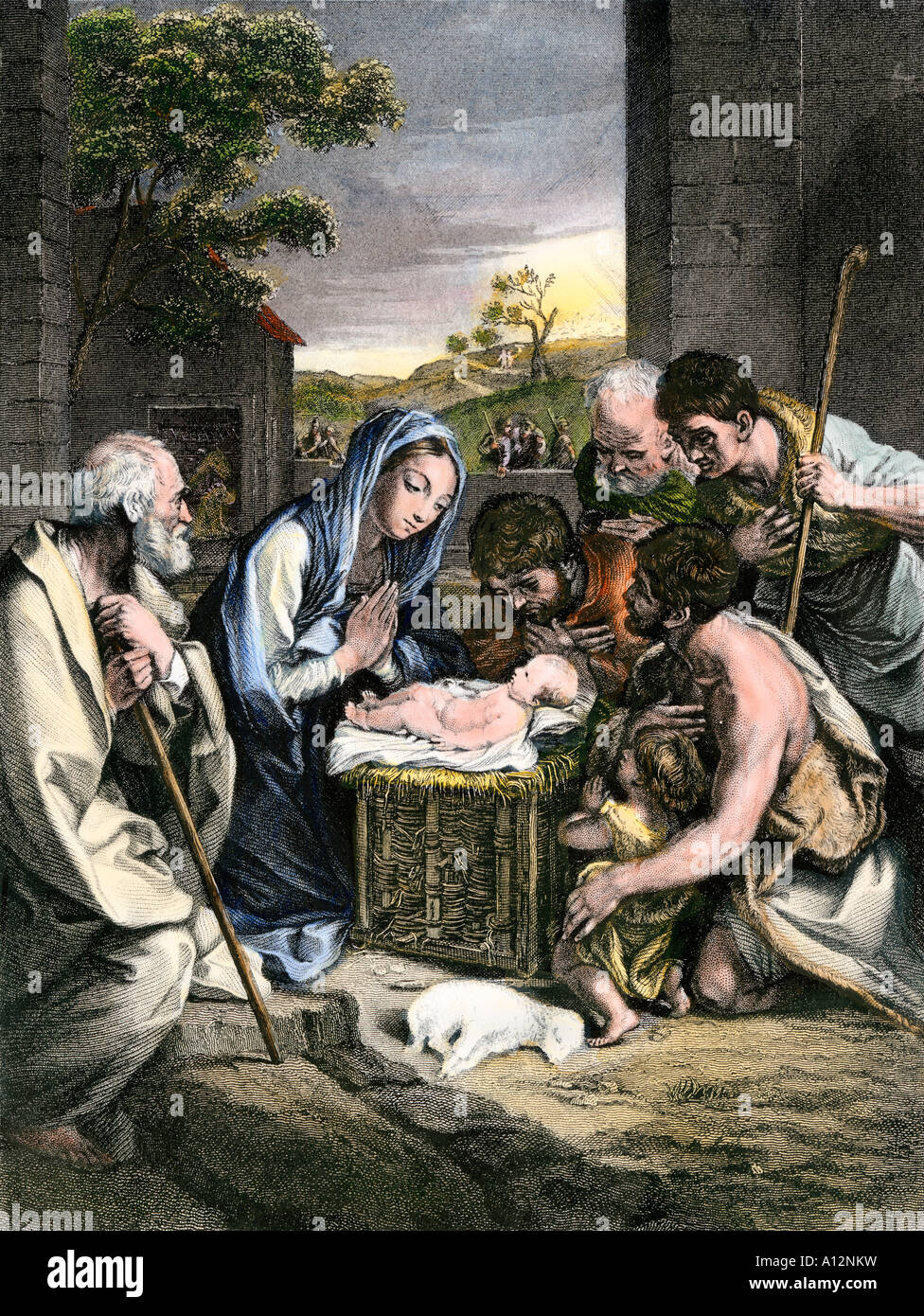 shepherds worshipping baby jesus lying in a manger in bethlehem