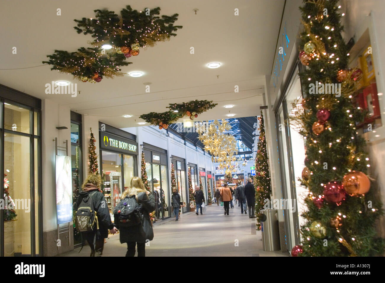shopping mall with christmas decorations in lubeck christmas market stock photo royalty free. Black Bedroom Furniture Sets. Home Design Ideas