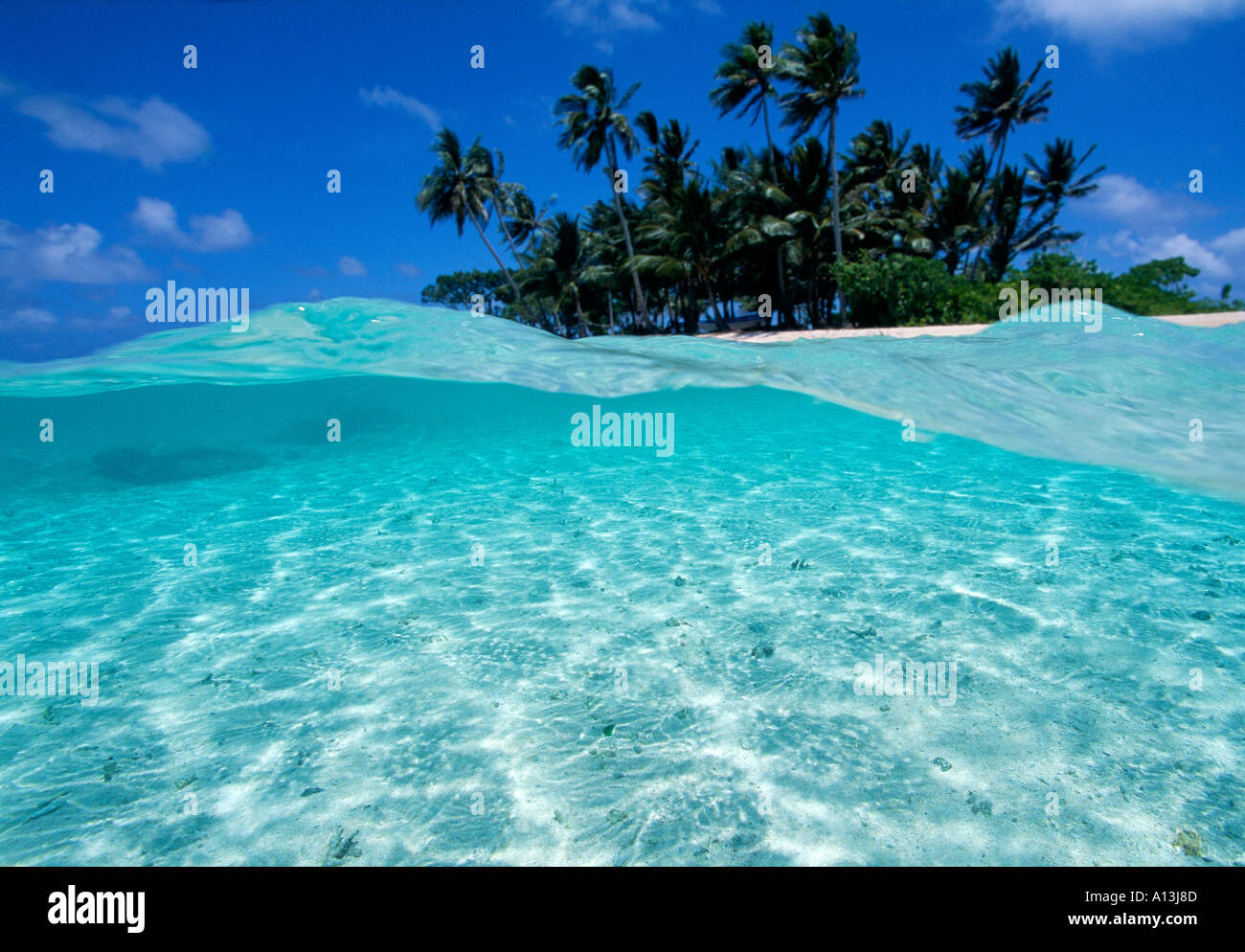 Under over of small atoll near chuuk truk lagoon federated states of micronesia stock image