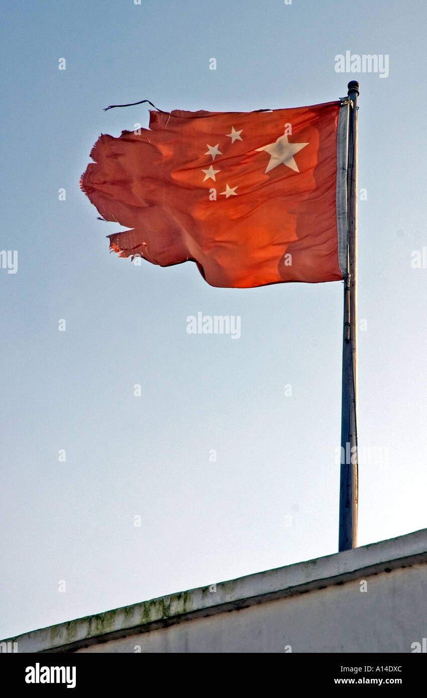 ripped torn damaged flag of the people u0027s republic of china stock