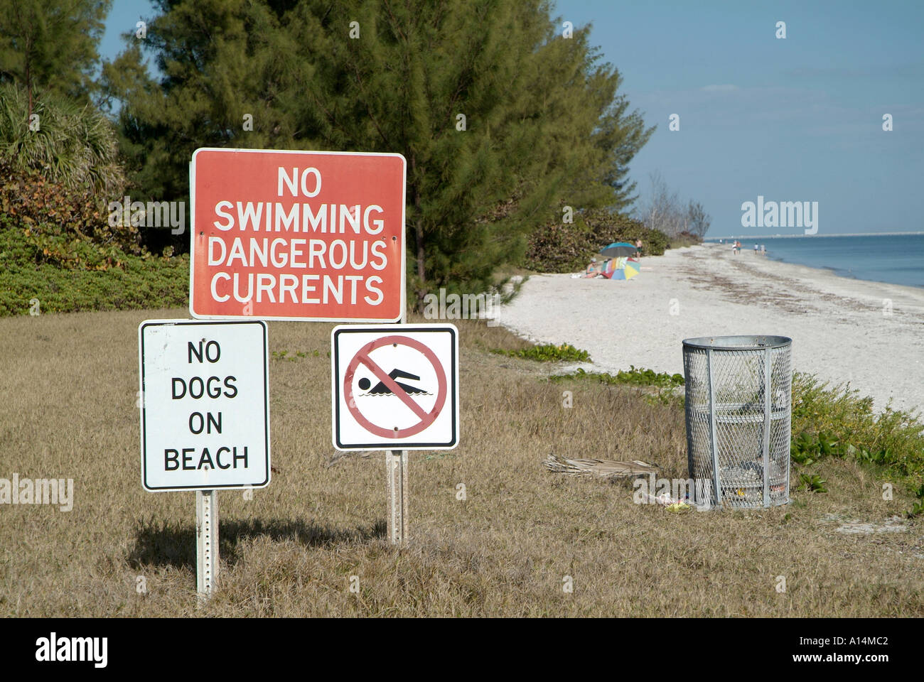 No swimming signs on beach regulate the actions of patrons to fort no swimming signs on beach regulate the actions of patrons to fort desoto county park at st petersburg florida nvjuhfo Images