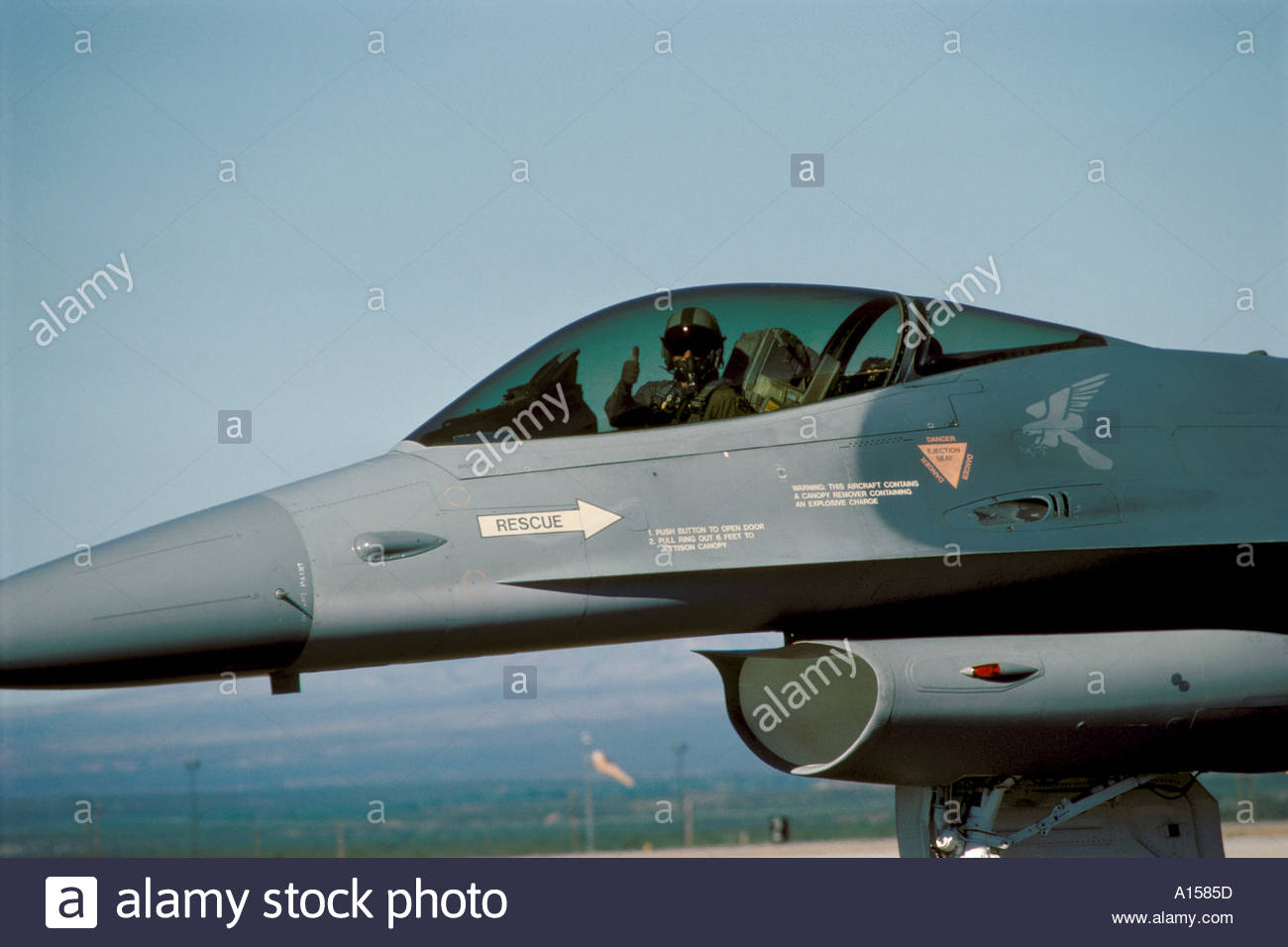 Usaf Air Force Pilot Readies His F 16 Fighting Falcon Jet
