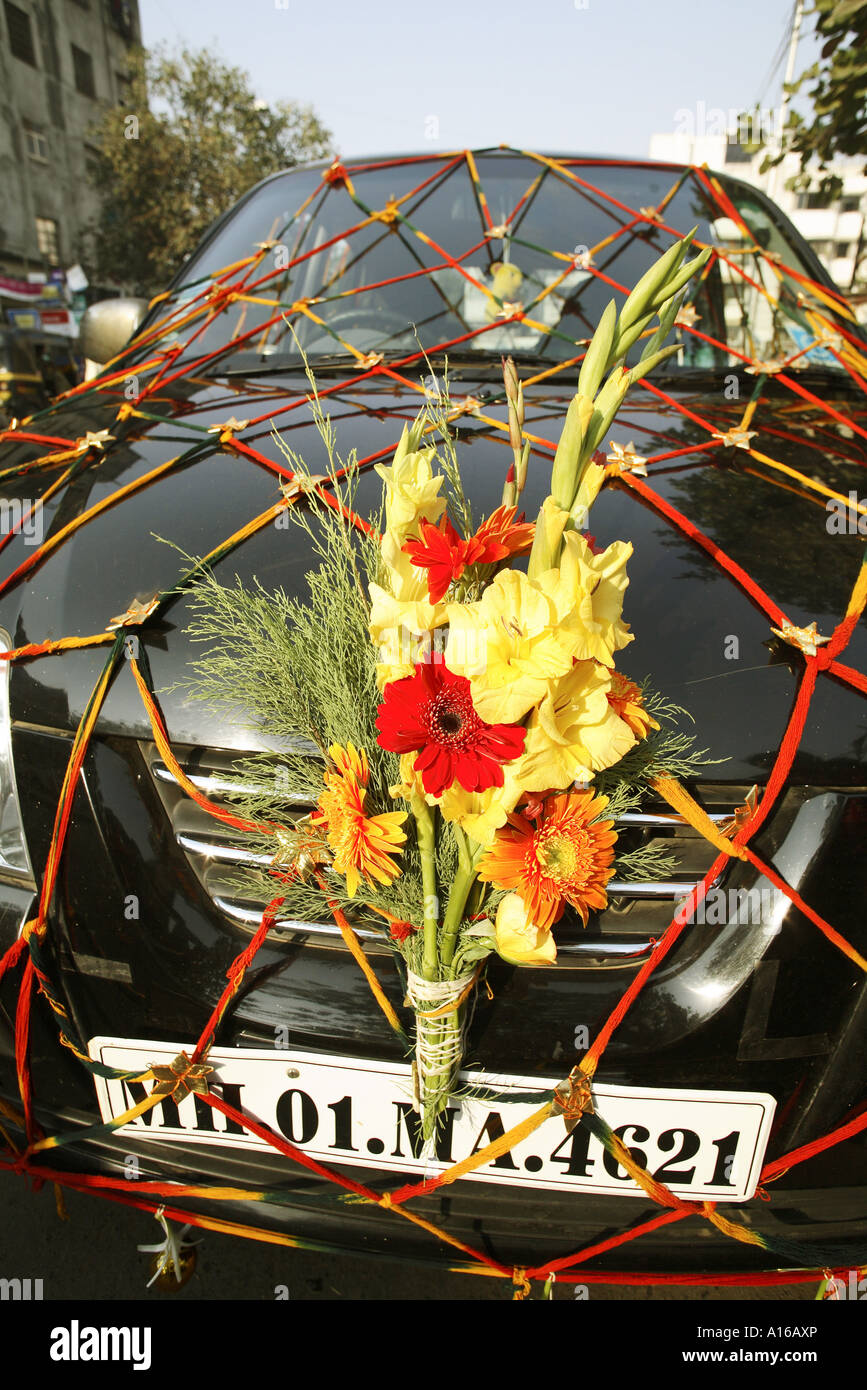 Decorated Car With Flowers For Indian Wedding Mumbai Maharashtra
