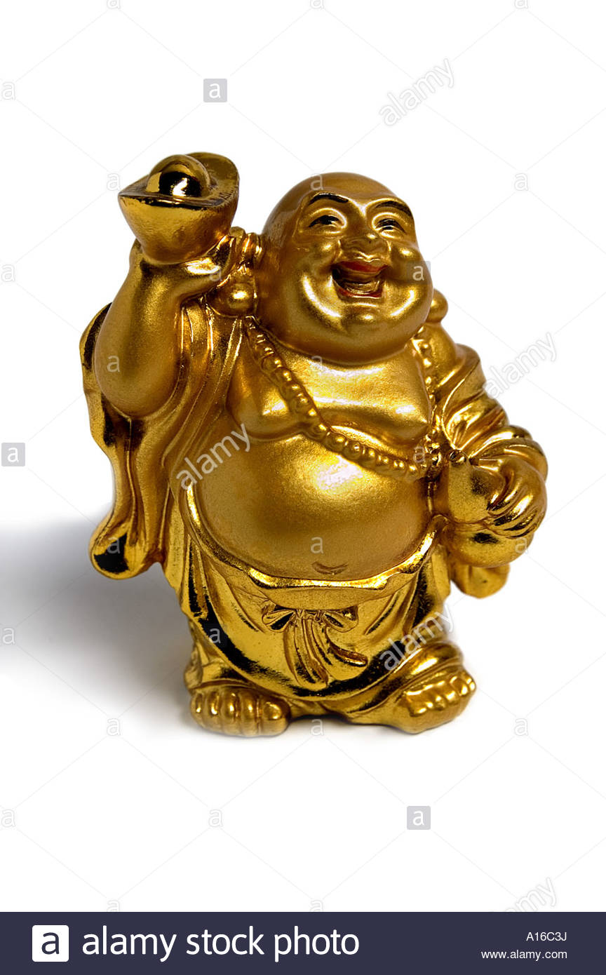 Laughing Buddha Statue golden color colour lucky good feng shui luck  fortune vertical cover big belly white background cutout
