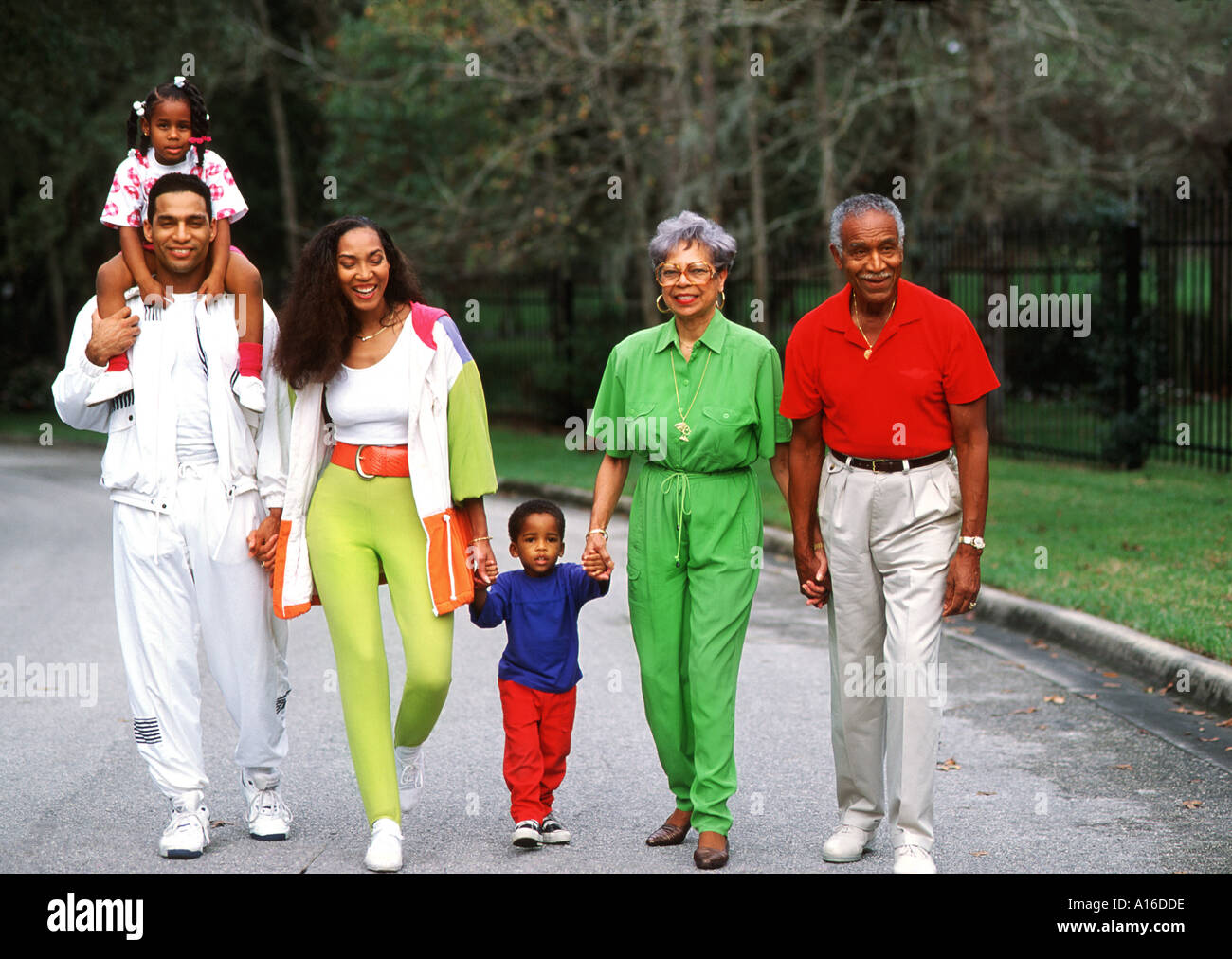 3 Generation African American Family Walking Outdoors