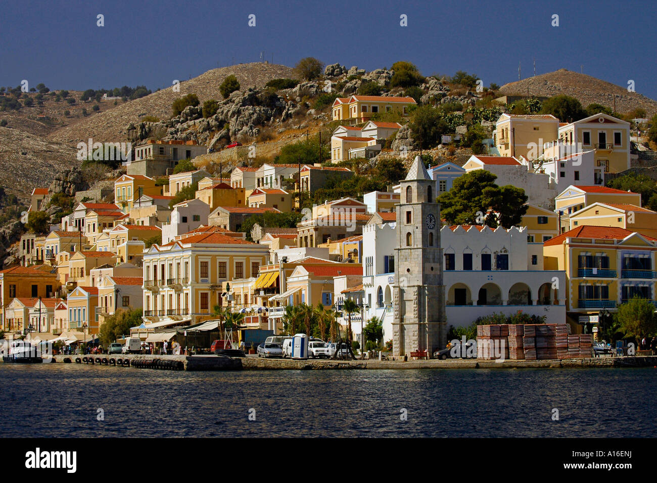 Isle Of Simi Symi Yialos Symi Harbour Greece Stock