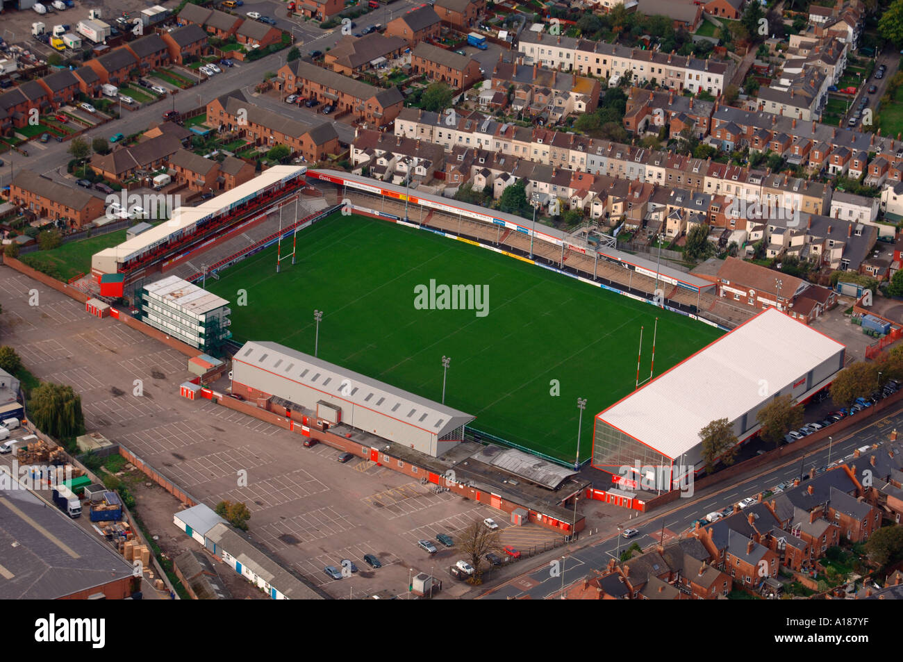 gloucester city centre with the kingsholm rugby ground stock photo  royalty free image  5814782