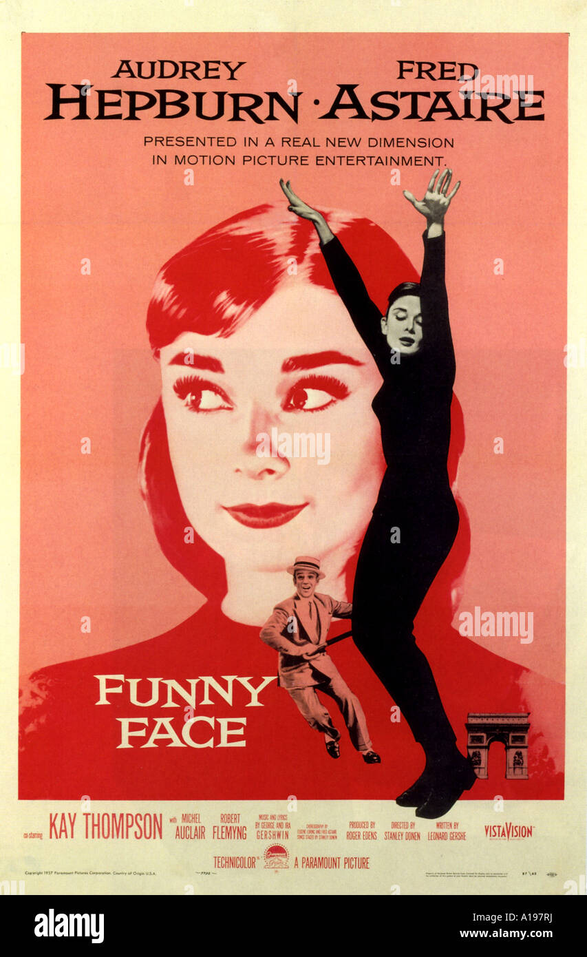 funny face poster for 1957 paramount film with audrey hepburn and stock photo royalty free. Black Bedroom Furniture Sets. Home Design Ideas