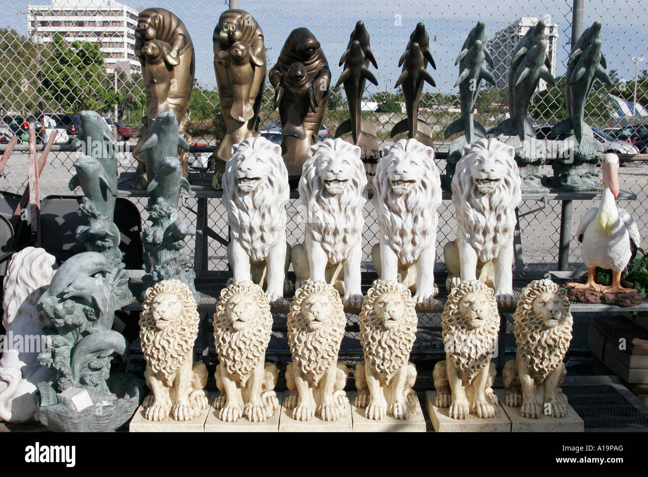 Delightful Miami Florida Biscayne Boulevard Kmart Garden Statues For Sale Lion Dolphin