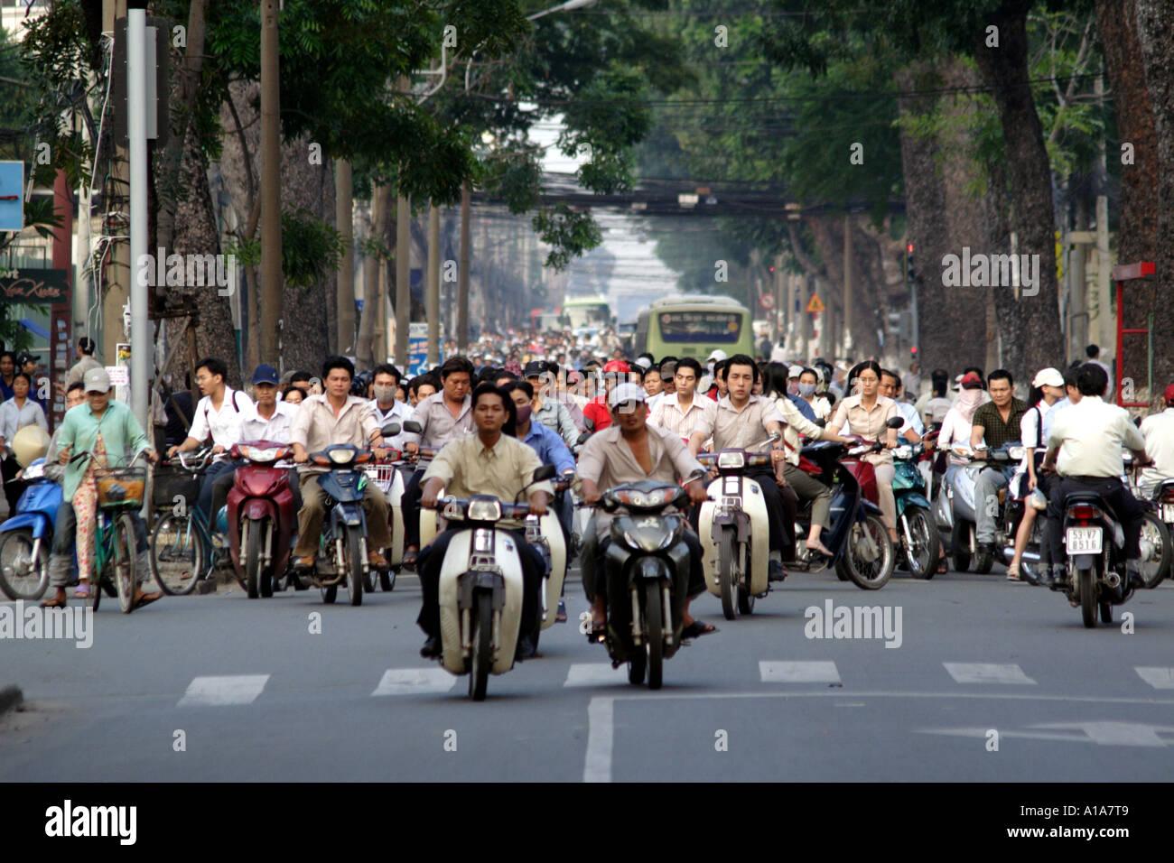Very busy street traffic in Saigon, HCMC, Vietnam III ...