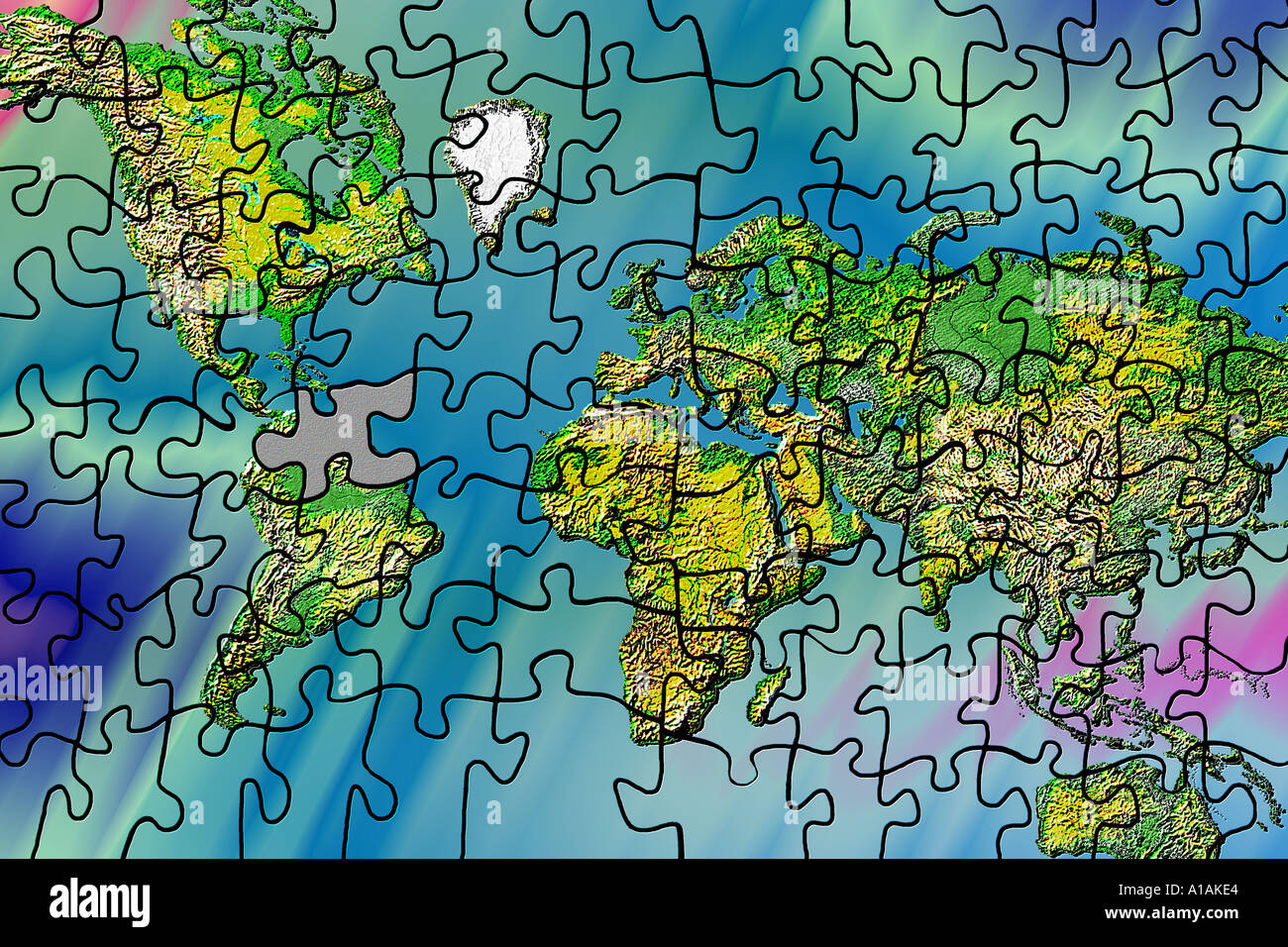 World Map Puzzle With Missing Piece Photo Royalty Free – Map World Puzzle