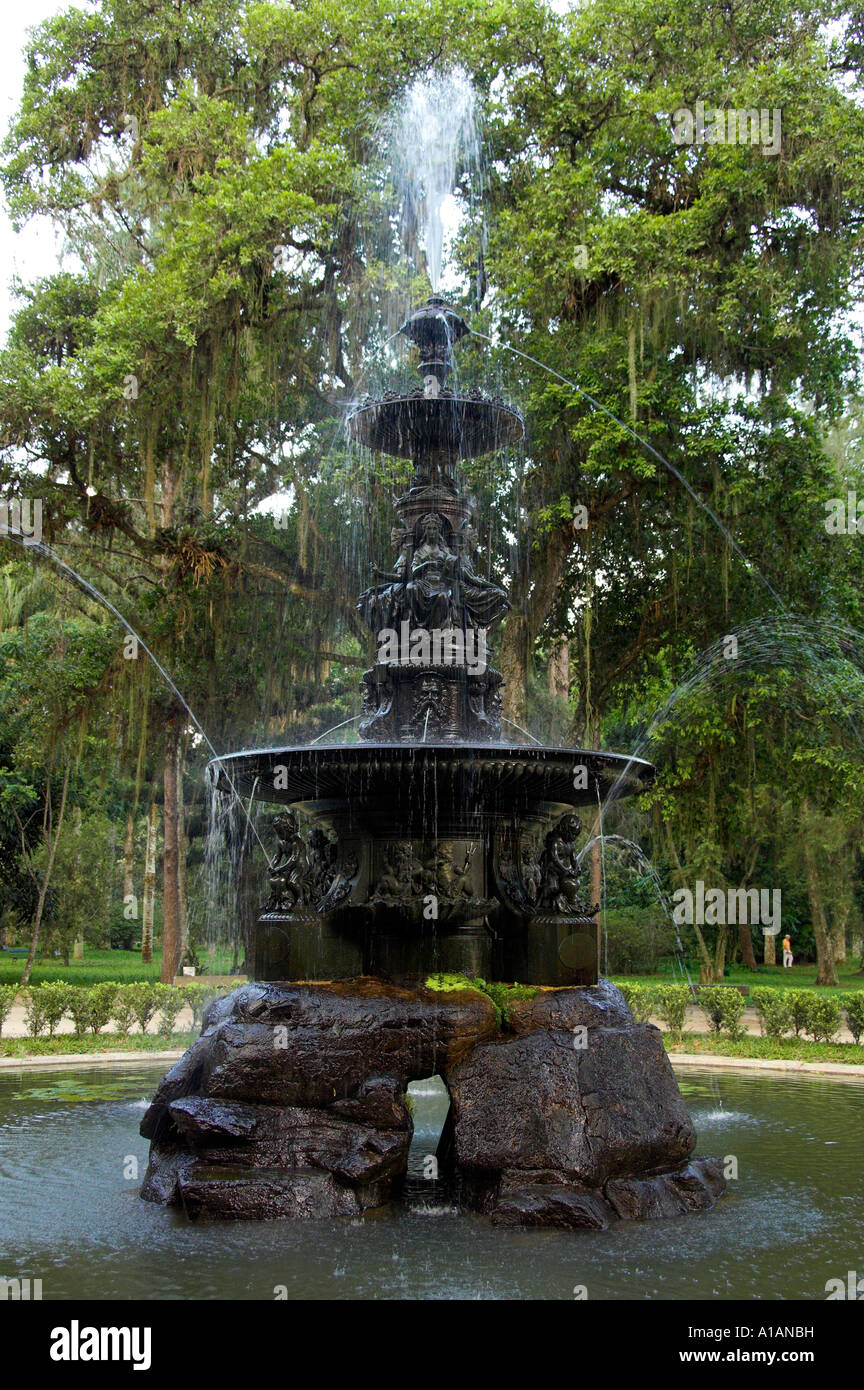 A Decorative Water Fountain At The Botanical Gardens In Rio De Janeiro  Brazil