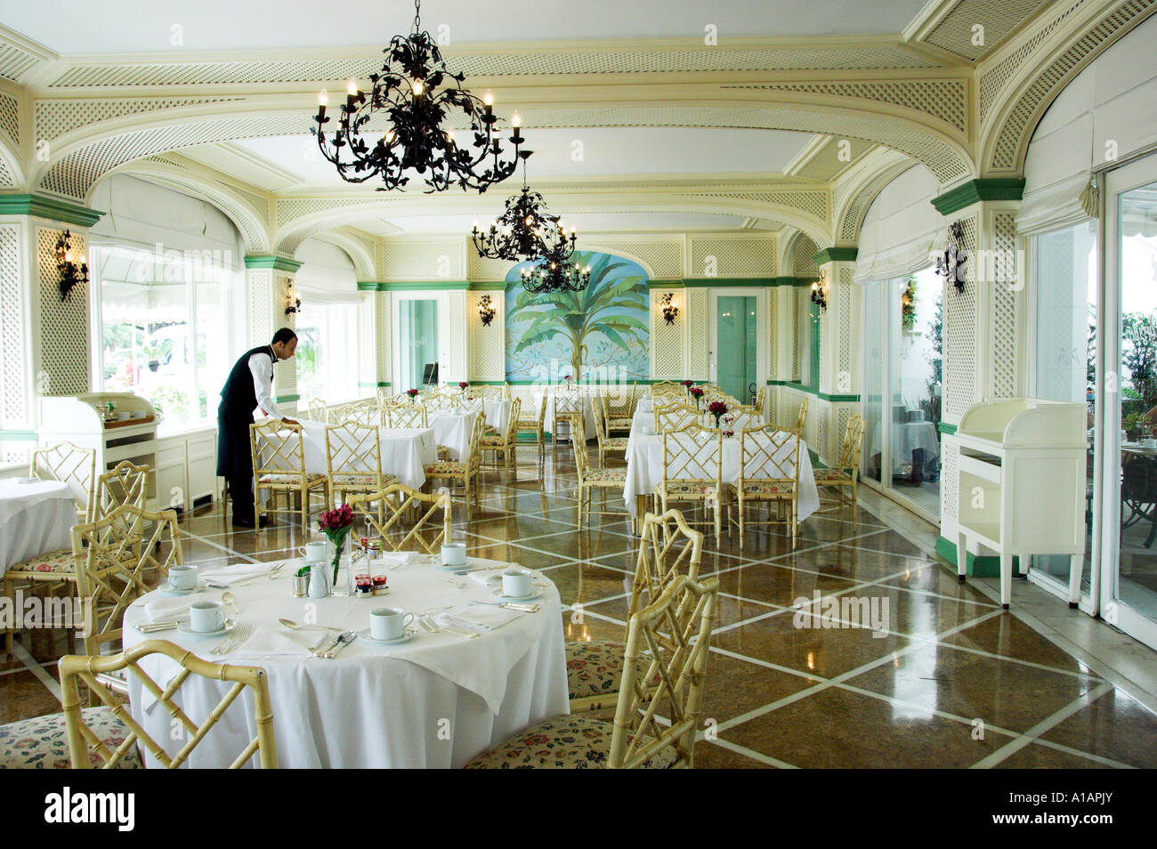 interior decor of the copacabana palace hotel dining room in rio