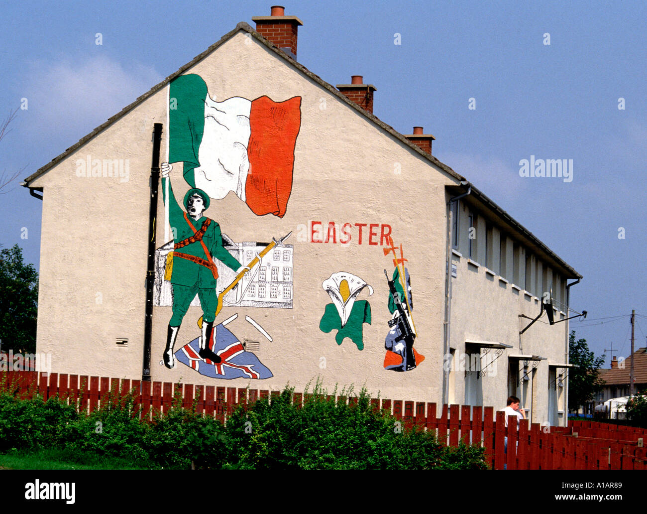 Republican mural belfast northern ireland stock photo for Mural belfast