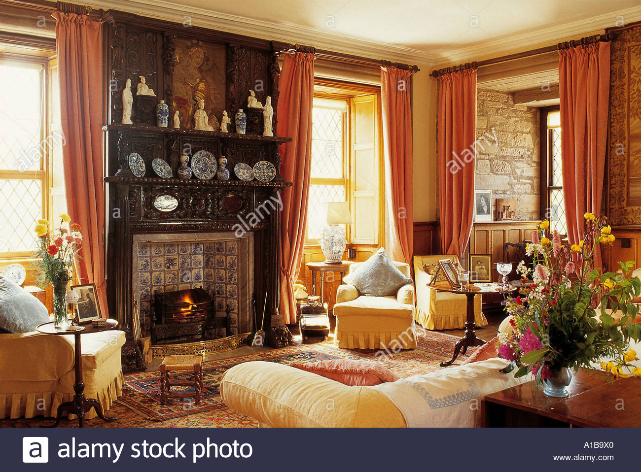 interior of the queen mothers sitting room at glamis castle north