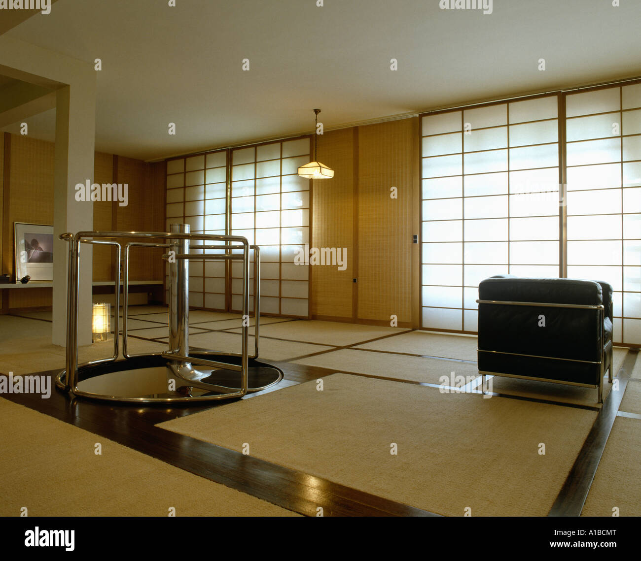japanese style modern living room tatami mats on floor blinds drawn