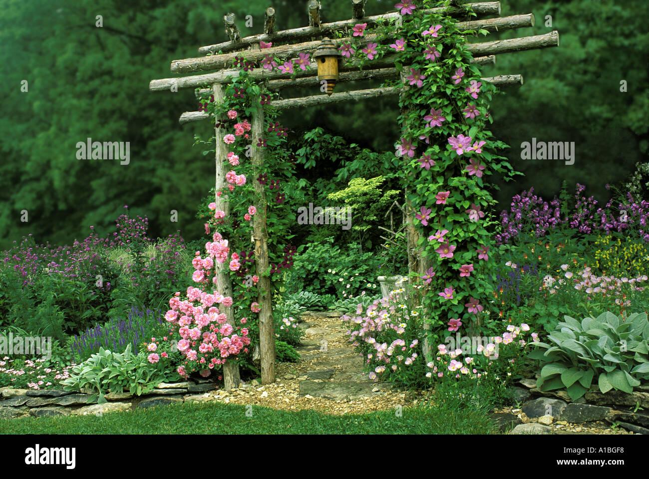 Summers pastel garden gate handmade garden arbor with birdbox