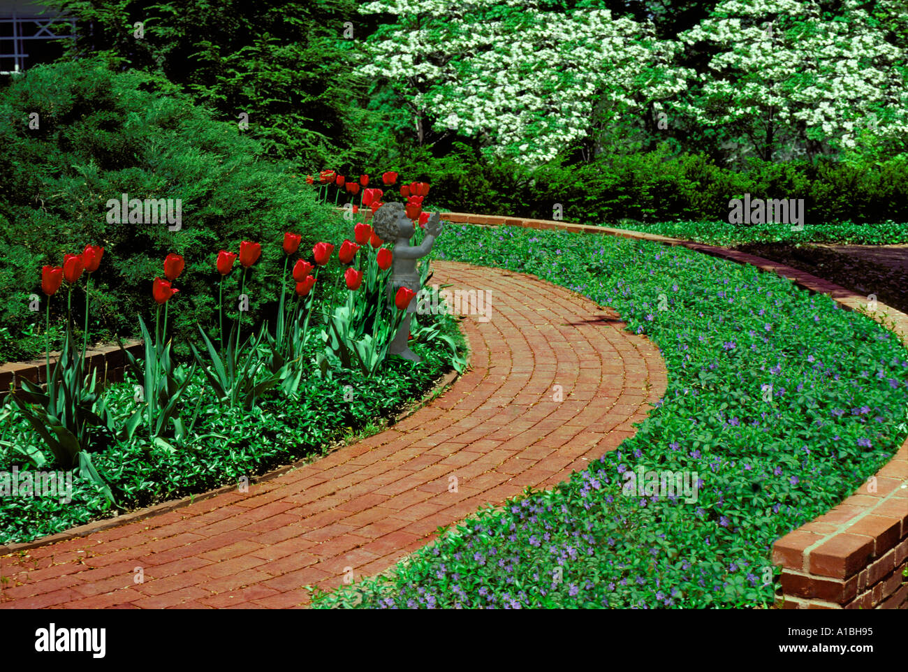 garden with curving brick path or walkway through vinca, Natural flower