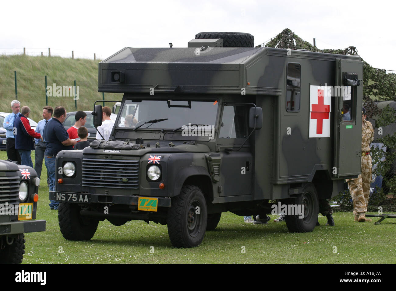 British army territorial army ambulance land rover defender display on portrush west strand county antrim northern