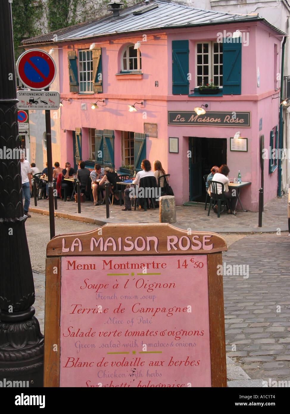 Romantic restaurant la maison rose with close up of menu