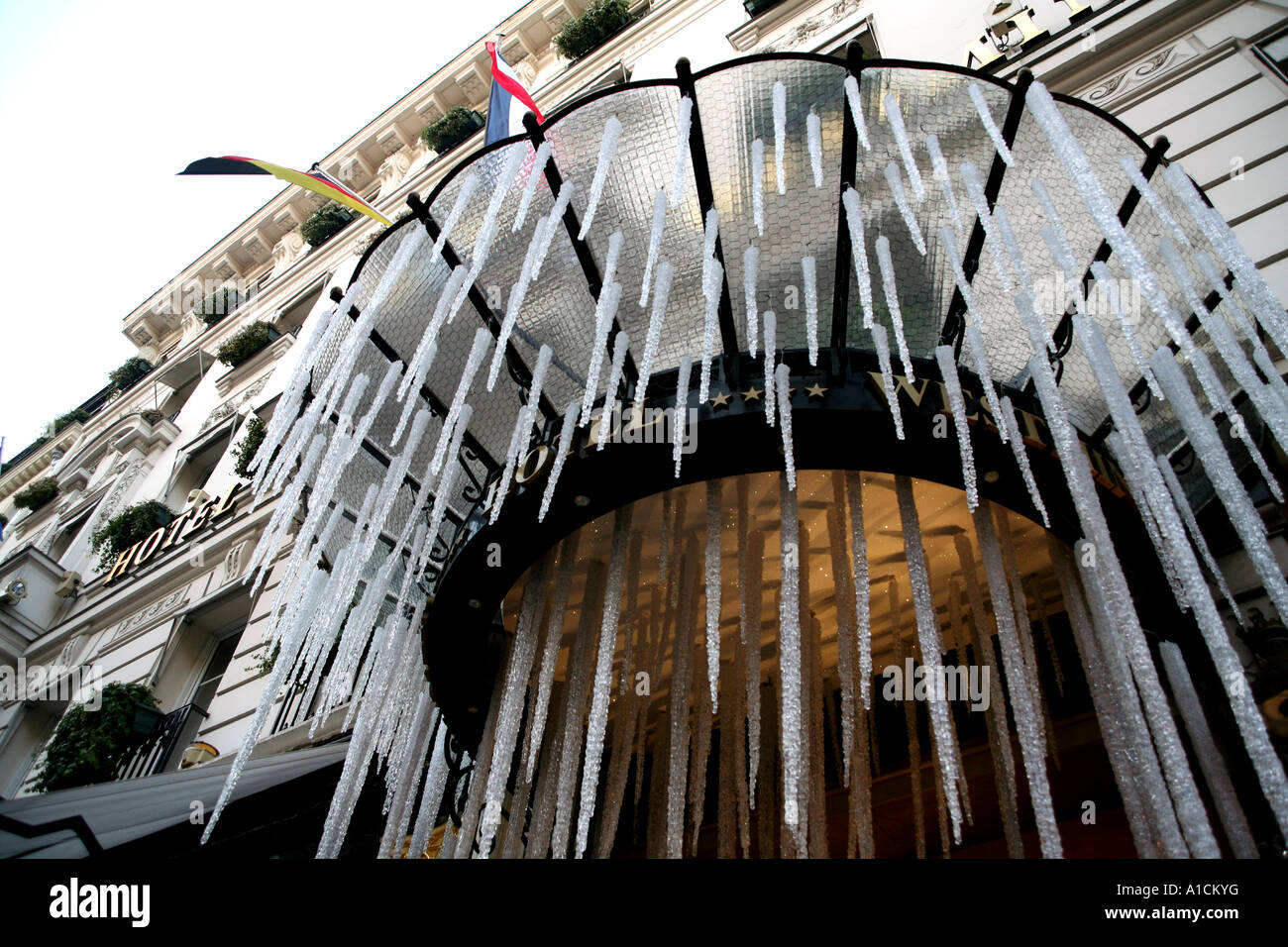 Astonishing Artificial Icicles Hang From Paris Hotel At Christmas Stock Photo Easy Diy Christmas Decorations Tissureus