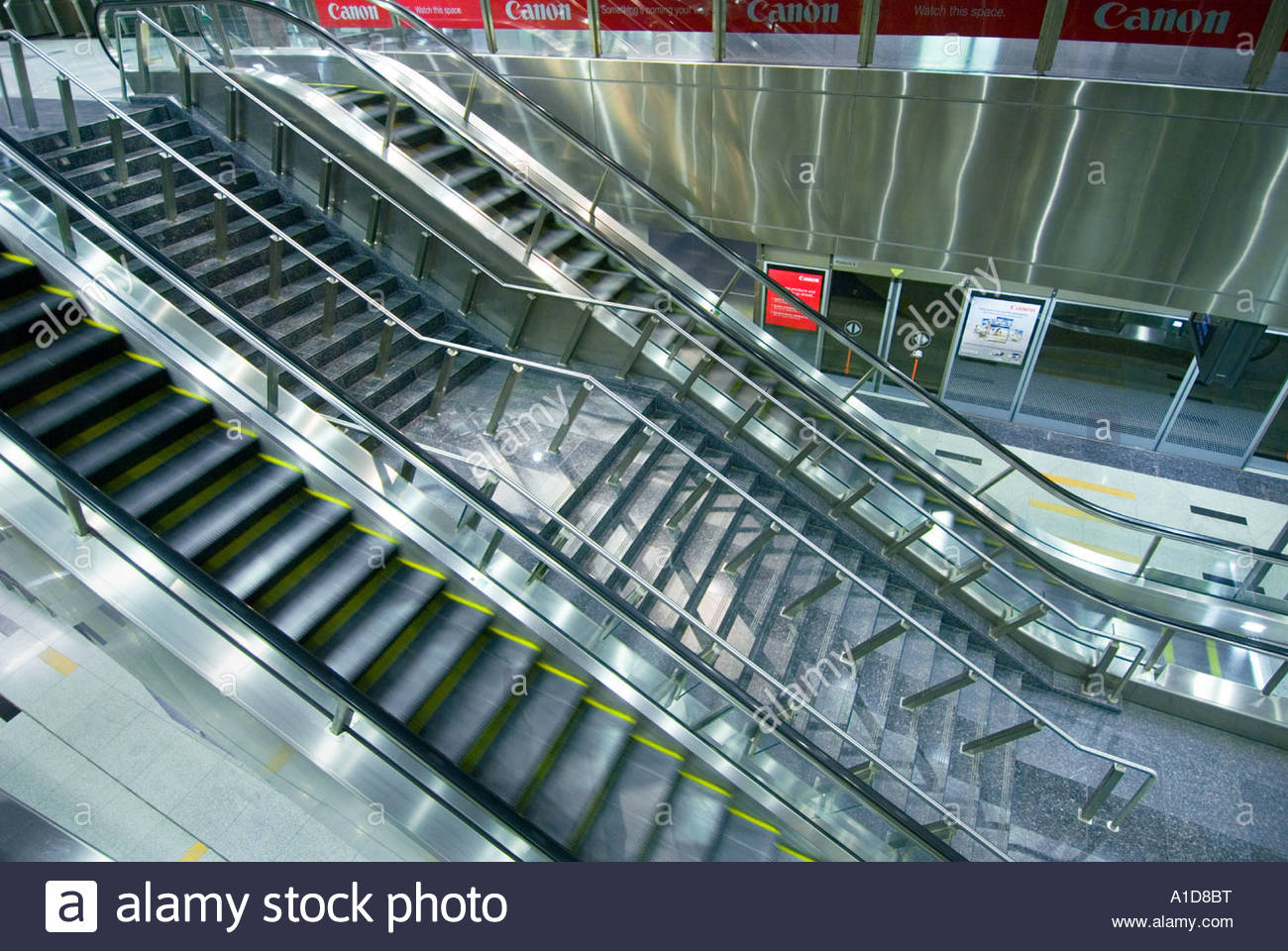 Stock Photo   The Very Clean Escalator Moving Staircase Stairmoving MRT  Station Underground SINGAPORE CITY Asia