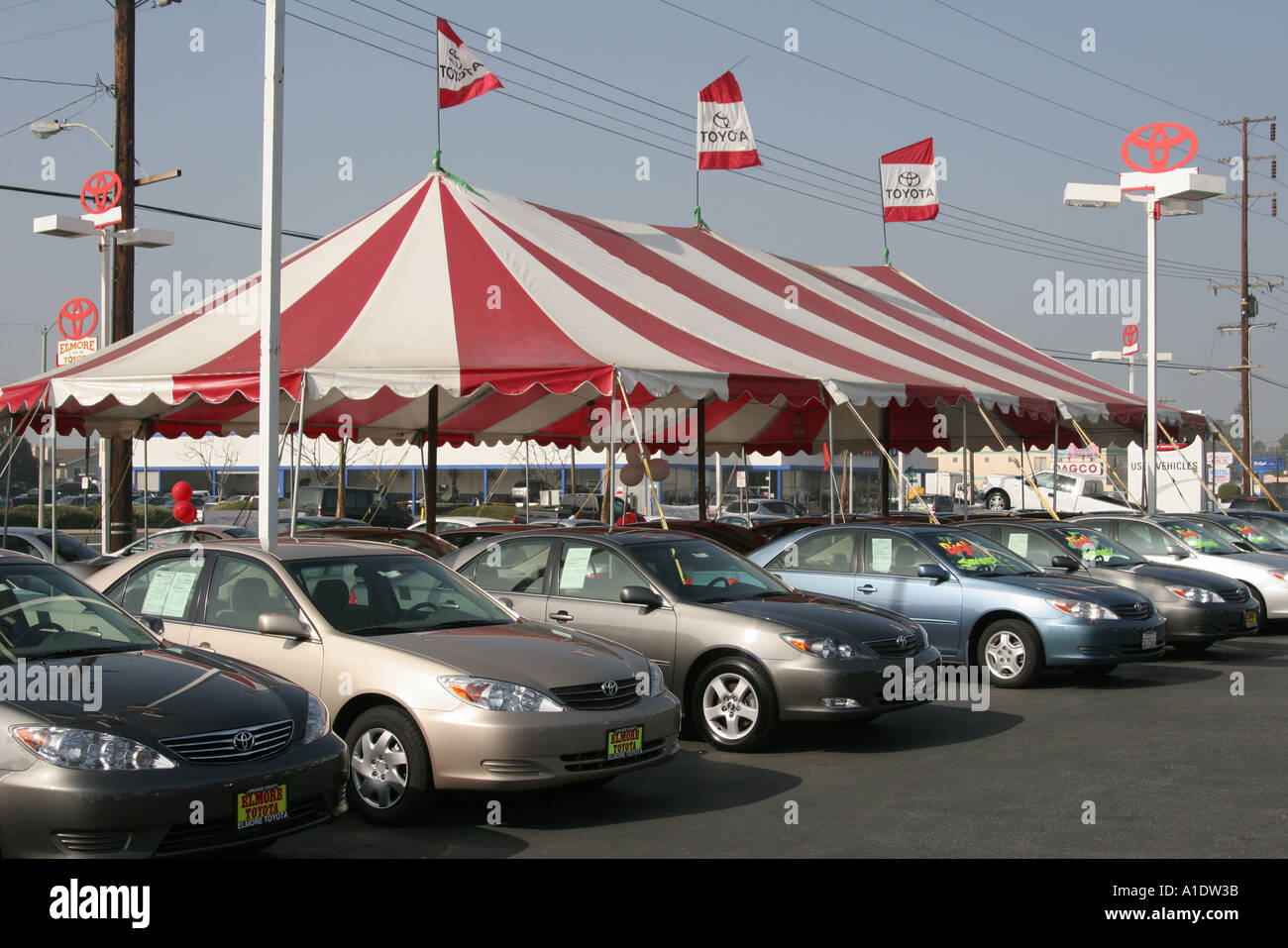 California orange county westminster elmore toyota car dealer tent sale banners