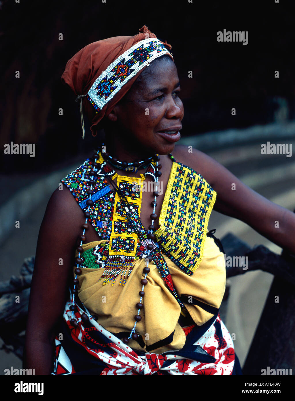 Zulu traditional dress in zulu kraal kwazulu natal - Stock Photo Zulu Tribes Woman In Traditional Dress