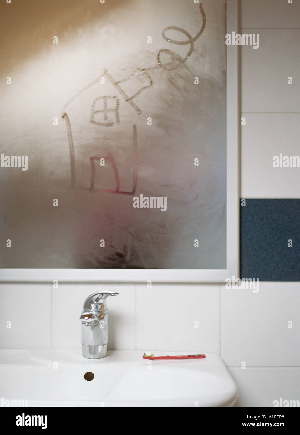 House drawn in condensation on bathroom mirror   Stock Image. Condensation Bathroom Stock Photos   Condensation Bathroom Stock