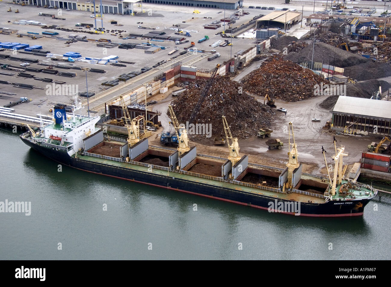 Scrap Metal Being Loaded To A Ship For Export At The Port Of Long Beach In Los Angeles California