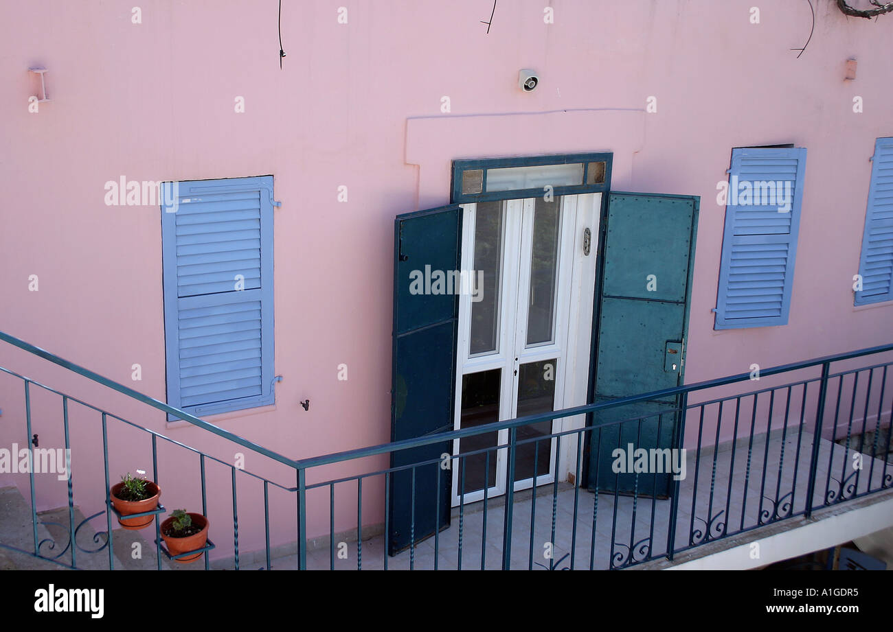 a blue door at the old city of tzfat israel stock photo royalty