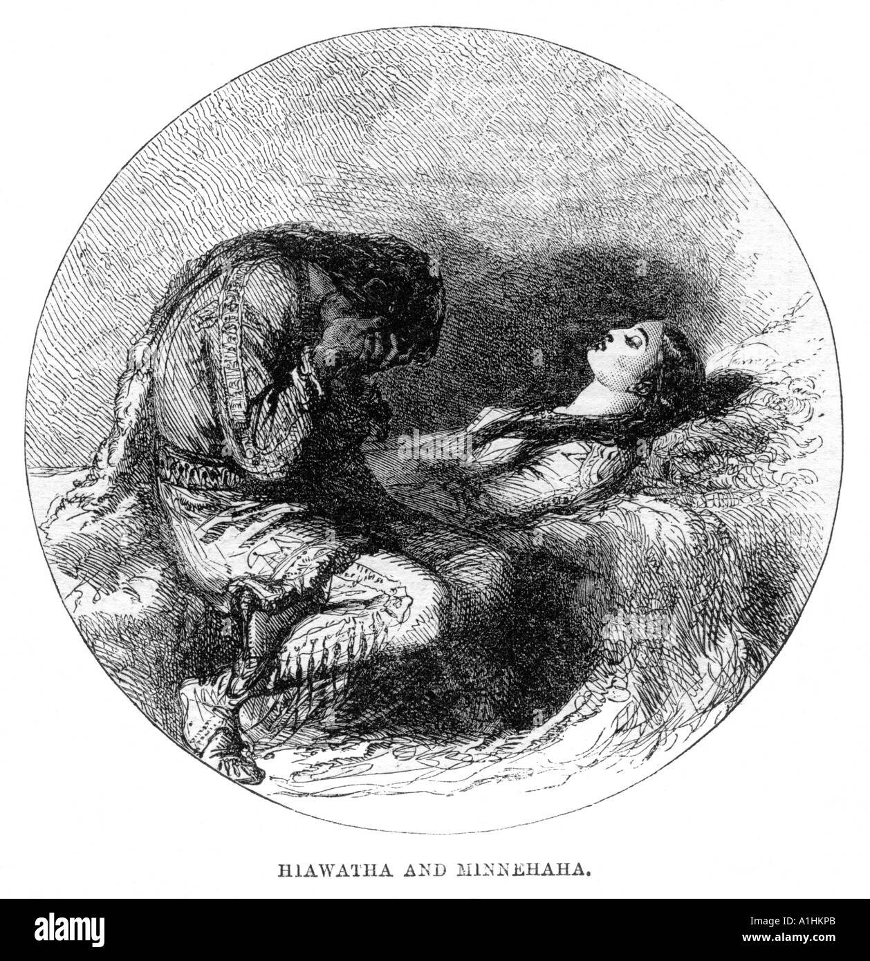 hiawatha and minnehaha poem by henry wadsworth longfellow  hiawatha and minnehaha poem by henry wadsworth longfellow 1807 1882 illustrated london news 24 1859