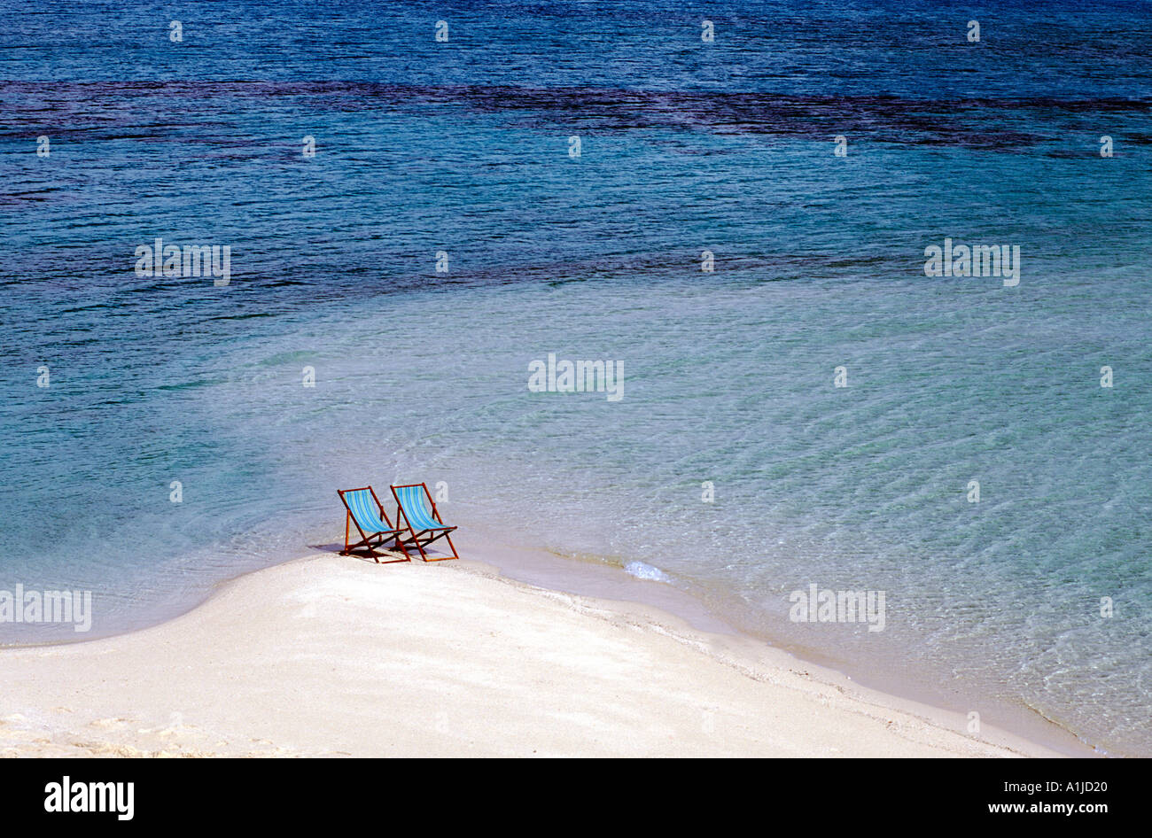 2 beach chairs on the beach - Australia Qld Great Barrier Reef 2 Beach Chairs On Beach