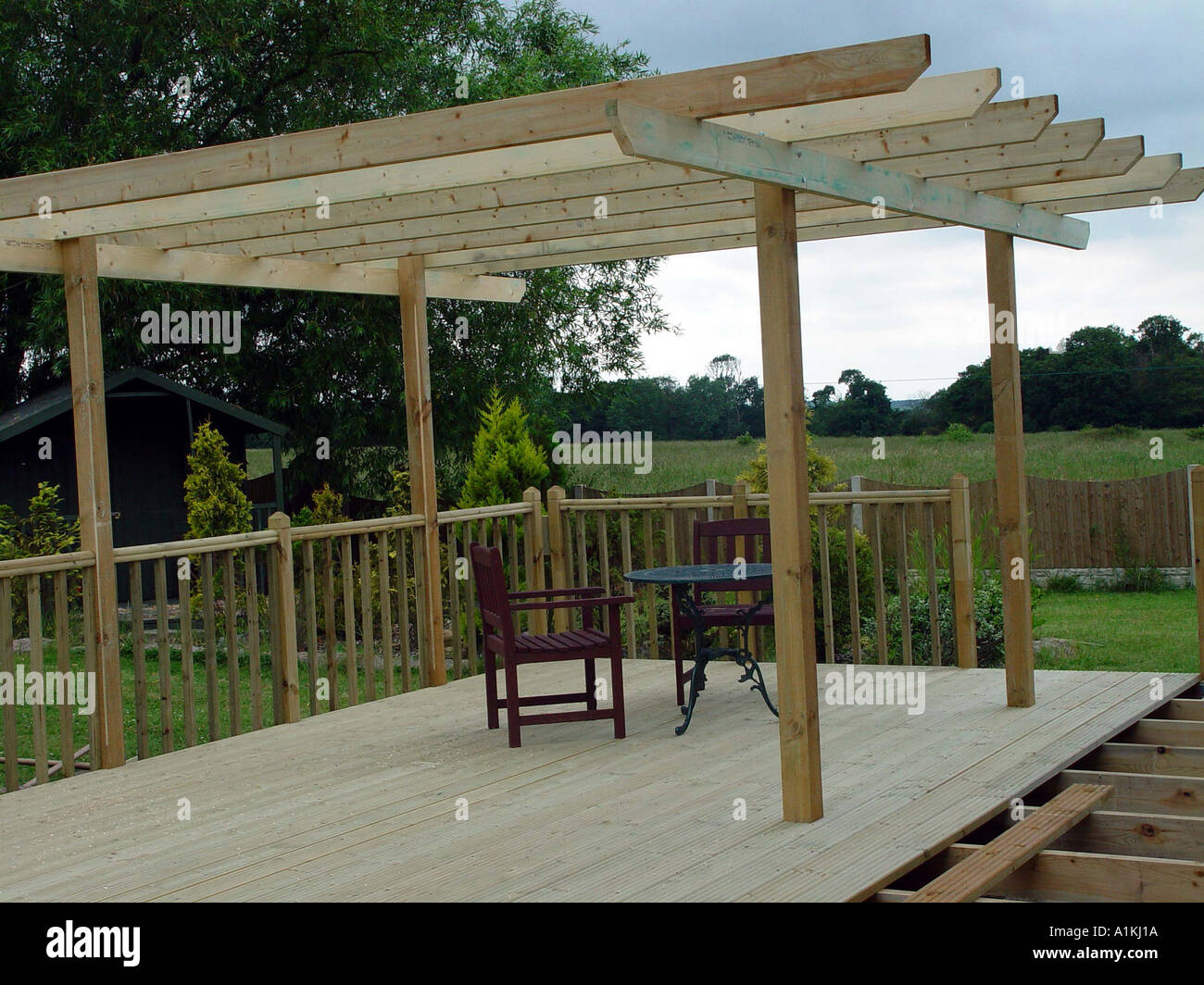 Pergola Over Garden Patio Deck The Decking And Pergola Are Constructed From  Tanalised Timber For Long