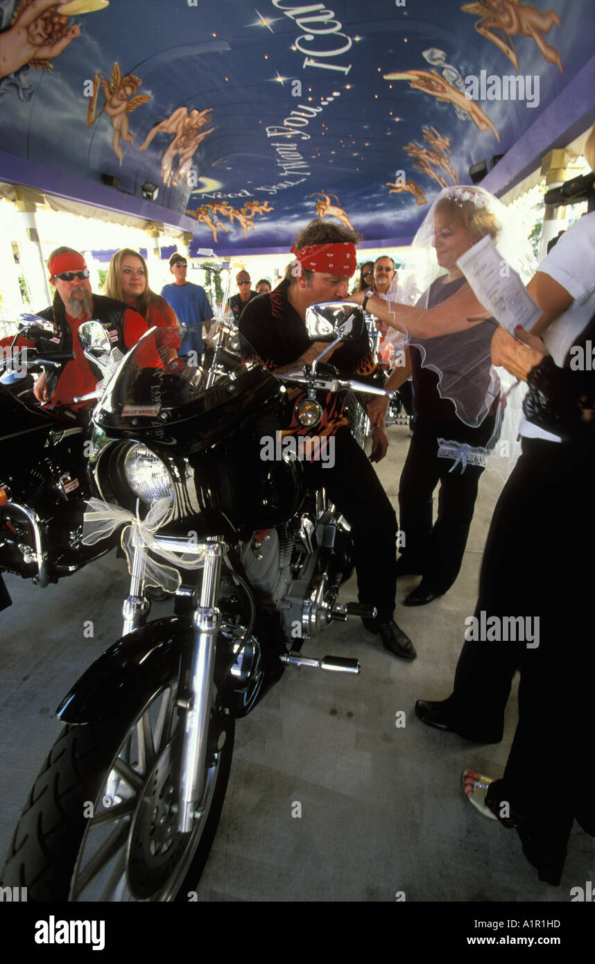 a hells angels drive thru biker wedding held at a little white wedding chapel in las vegas nevada usa