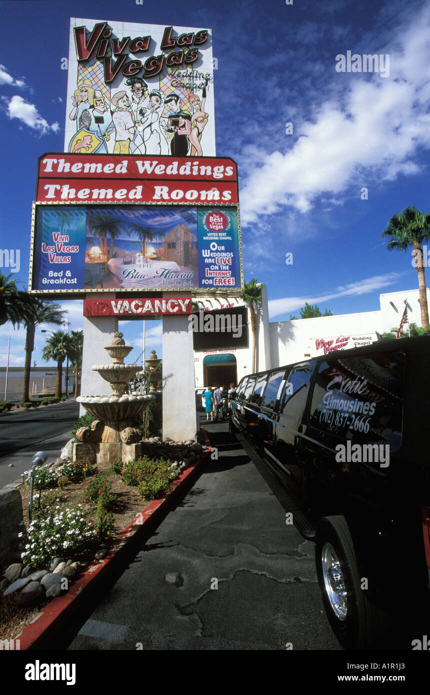 A Sign At The Viva Las Vegas Wedding Chapel In Nevada USA