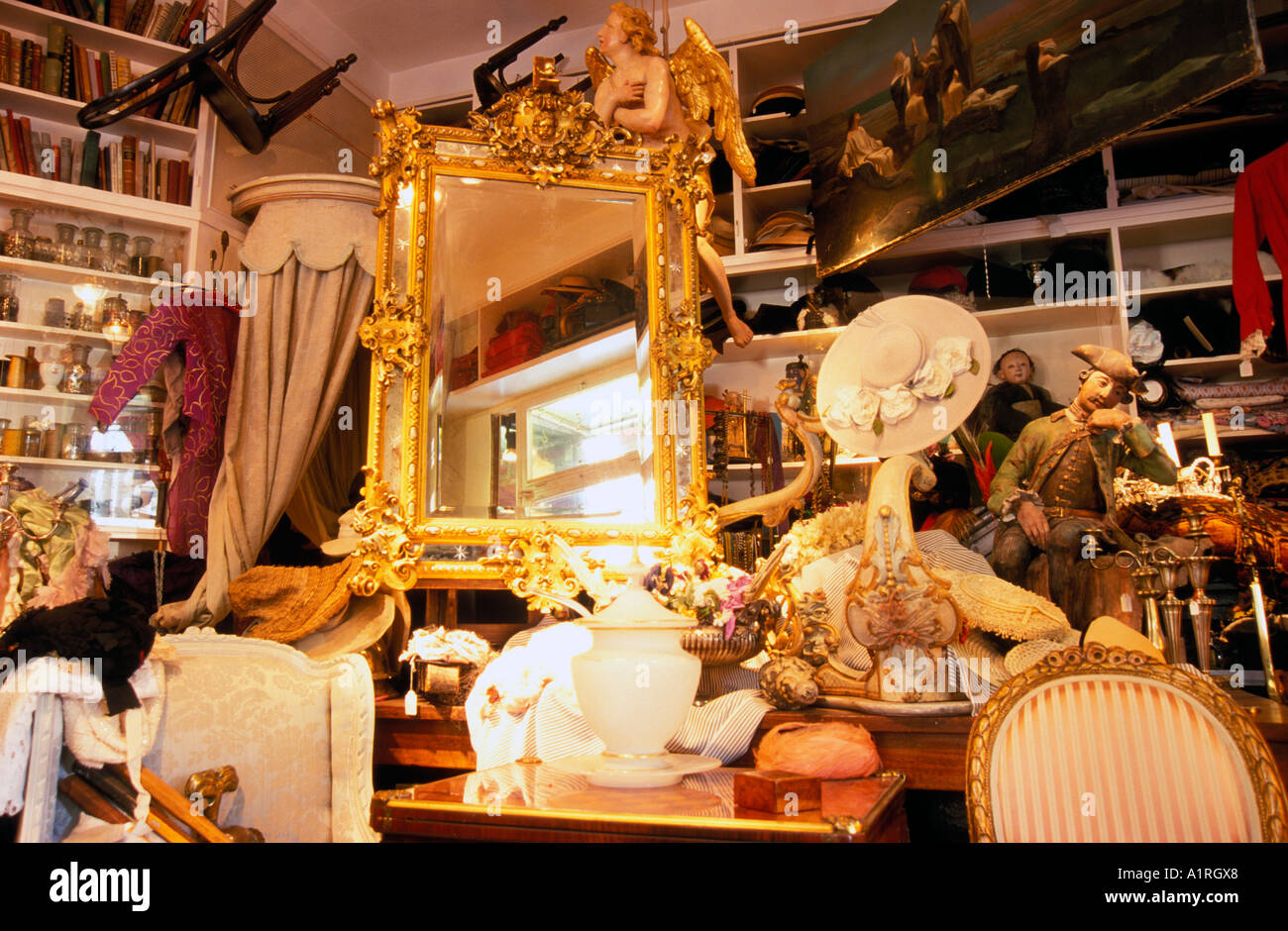 antiques at the antique shop muggenthaler glockenbachviertel munich stock photo royalty free. Black Bedroom Furniture Sets. Home Design Ideas