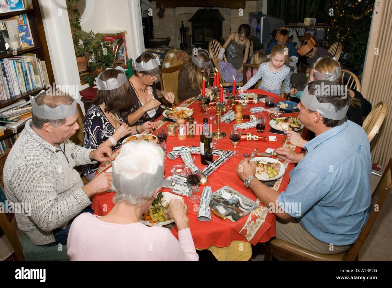 Family Christmas Dinner Table - Large family sharing festive christmas dinner cotswolds uk stock image
