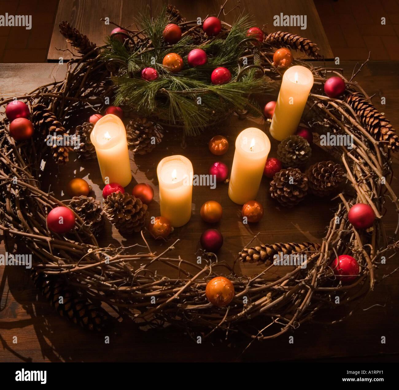 Advent Wreath Decorations Advent Wreath Candles Advent Crantz Christmas Decoration Stock