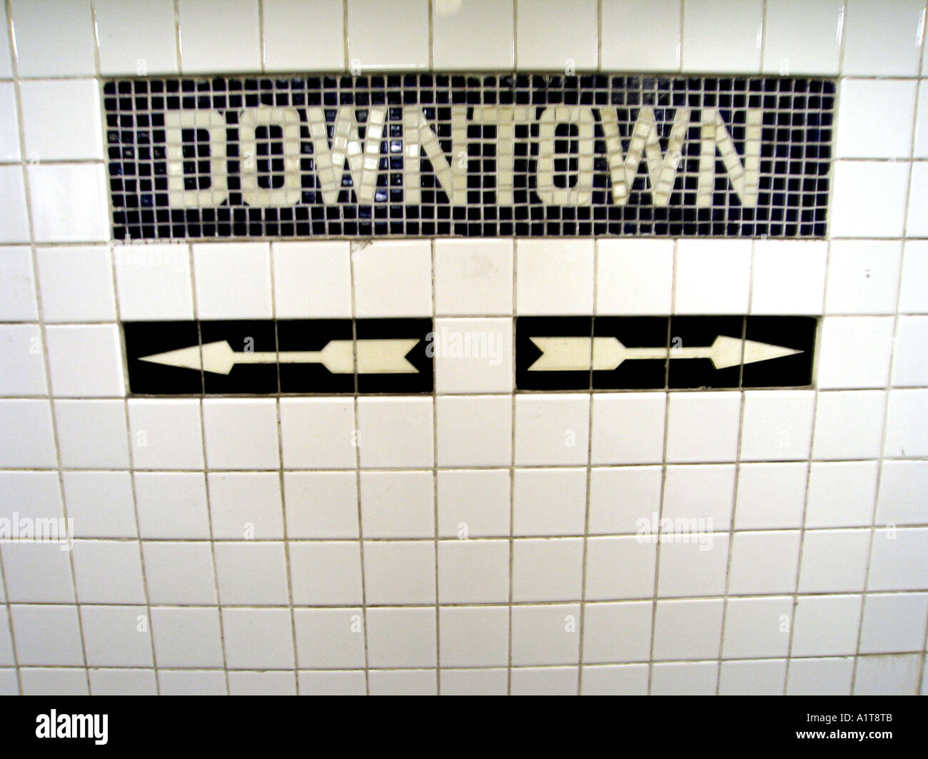 Tile mosaic downtown sign on the enterance to the subway in new york tile mosaic downtown sign on the enterance to the subway in new york city dailygadgetfo Choice Image