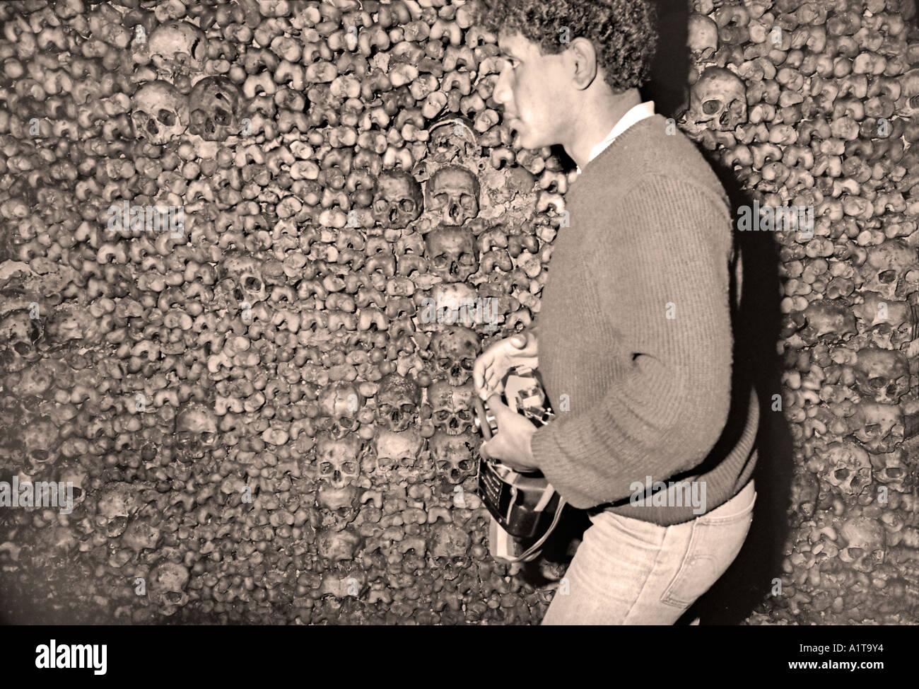 "Paris France, Europe Man Visiting ""Underground Cemetery"" Catacombs ..."