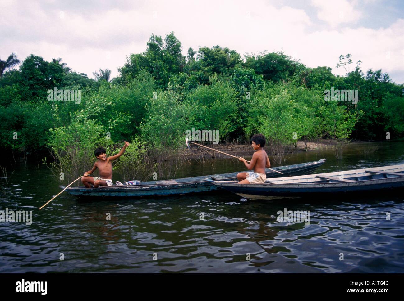 2, two, Brazilian boys, boys, friends, fishing, dugout ...